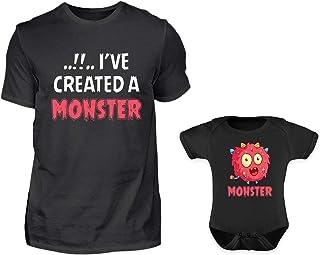 PlimPlom Vater Baby Partnerlook Set Mit Lustigen Monster Spruch T-Shirt Und Babybody Strampler Für Den Sohn Oder Tochter