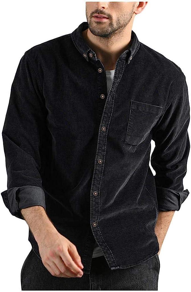 YAYUMI Men Corduroy Shirt Buttons Pocket Long Sleeves Fashion Casual Top Blouse Fall Slim Jacket