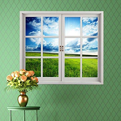 EgBert Grünland 3D Künstliche Fenster Ansicht Blauer Himmel 3D Wandtattoos Zimmer Pag Aufkleber Wand Dekor Geschenk