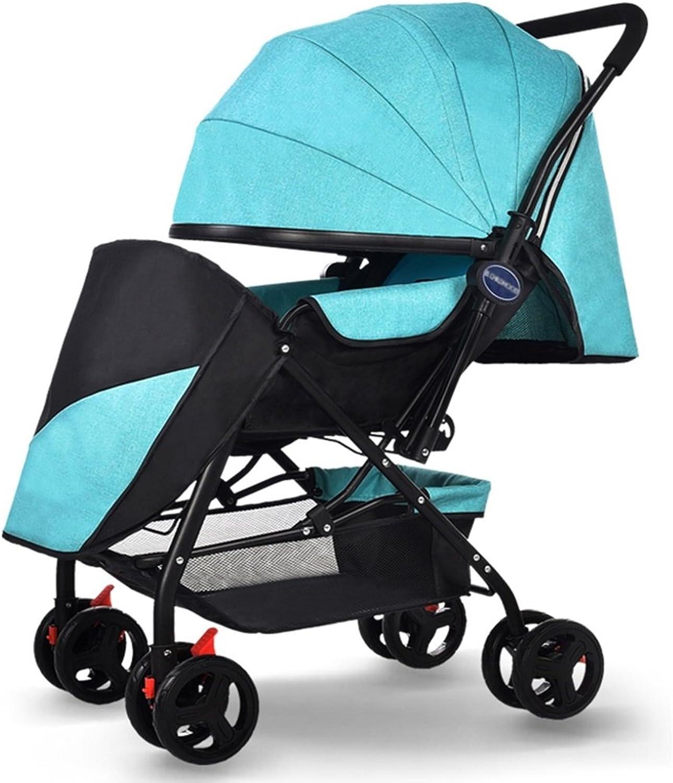 Strollers DD Babywagen Neugeborenes Baby Faltbarer Kinderwagen kann 1 Monat lang im Kinderwagen sitzen und schlafen - 4 Jahre Alter vierrdriger Wagen BabyWagen (Farbe   Linen Grün)