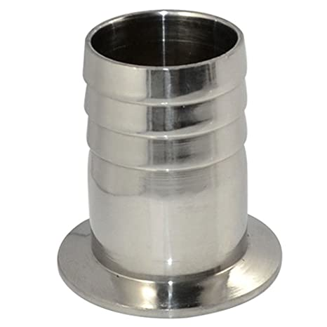 """Clamp Hose Adapter 1.988/"""" Flange to 3//4/"""" Hose Barb Sanitary Fitting"""