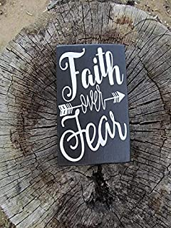 CELYCASY Rustic, Reclaimed Wood Sign, Say's, Faith Over Fear, Home Decor, Wall Decor, Size Approx. 6