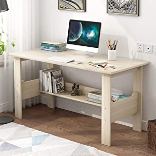 Computer Desk with One-Tier Storage Shelves, Modern Large Office Desk Computer Table Studying Writing Desk Workstation with Bookshelf and Tower Shelf for Home Office (White)