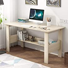 Luonita Writing Computer Desk Modern Simple Study Desk Industrial Style Workstation Laptop Table with Storage Shelf ,US Stock