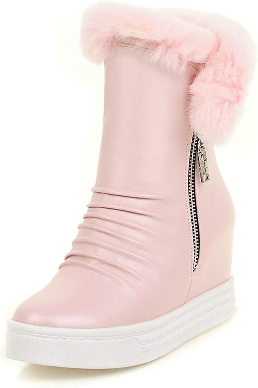 DoraTasia Women's Leisure Metal Zipper Faux Fur Platform Hidden High Wedge Ankle Boots