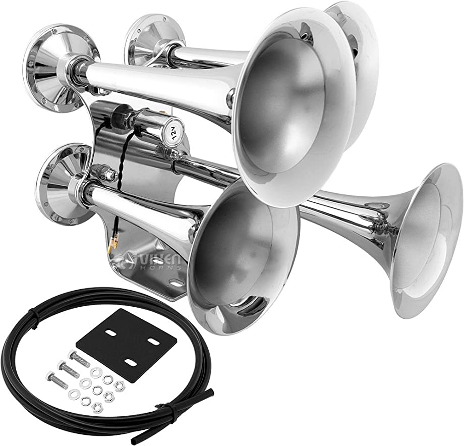 Vixen Horns Loud 152dB 4/Four Trumpet Heavy Duty Train Air Horn with 12V Electric Solenoid Chrome VXH4318