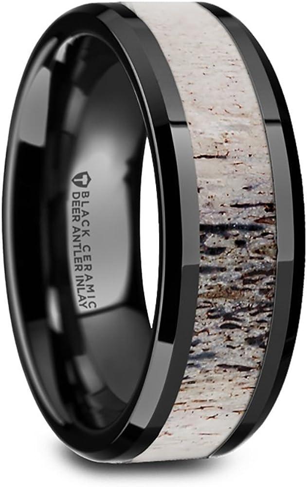 Thorsten Tres Black Ceramic Wedding Ring Band with Ombre Antler Inlay & Polished Beveled Edges - 8mm