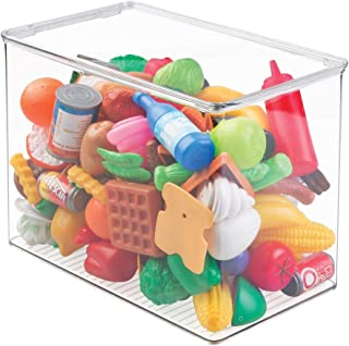 mDesign Stackable Closet Plastic Storage Bin Box with Lid - Container for Organizing Child's/Kids Toys, Action Figures, Crayons, Markers, Building Blocks, Puzzles, Crafts - 9