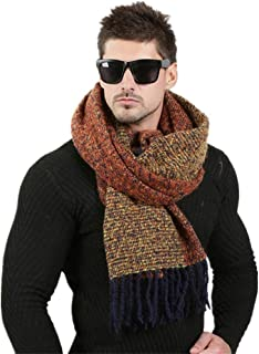 Men's Fashion Scarf Winter Wool Knitted Cashmere Scarf Couple High Quality Thick Warm Fringe Long Scarf 70cm * 200cm (Colo...