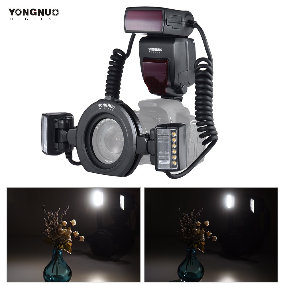 YONGNUO YN24EX E-TTL Speedlite Flash Macro 5600K con Las Cabezas ...