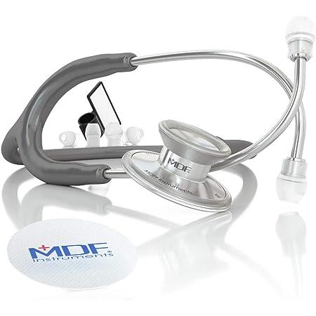 MDF® Acoustica® Stetoscopio a due testine leggero Deluxe della - Garanzia a vita & Programma-componenti-gratuite-a-vita - Grigio (MDF747XP-12)