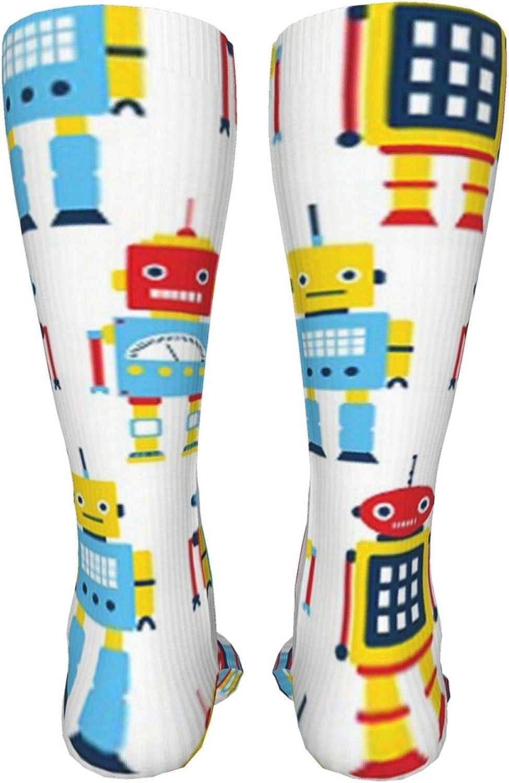 Multi Robot Women Premium High Socks, Stocking High Leg Warmer Sockings Crew Sock For Daily And Work