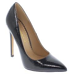 ee3072d074 Shoe Republic LA Pointy Toe Faux Snakeskin Patent Pumps Nimo
