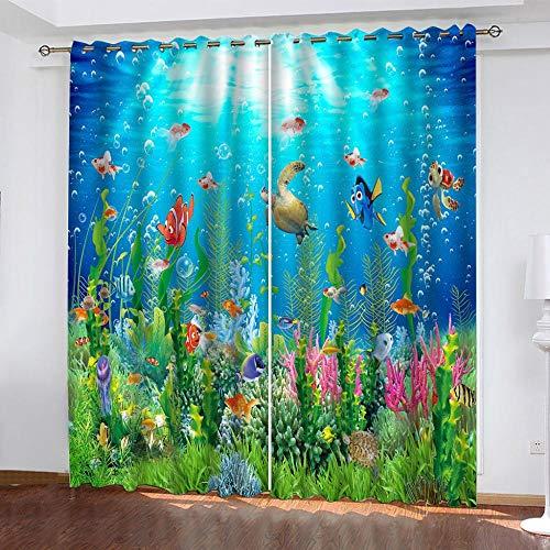 Vorhänge Blaue Ozeanwelt Fisch Vorhang Blickdicht mit Ösen 100% Polyester Gardinen Isolierend Schalldämmend Verdunkelungsvorhänge für Wohnzimmer Kinderzimmer Schlafzimmer Küche Dekoration 150x166cm