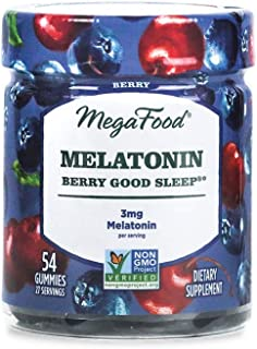 MegaFood, Melatonin Berry Good Sleep Gummies, Soft Chew Supplement to Support Relaxation Vegan, 54 Gummies
