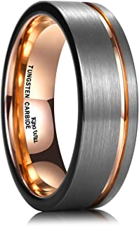King Will Loop Tungsten Carbide Wedding Ring 7mm Rose Gold Line Flat Pipe Cut Brushed Polished Comfort Fit
