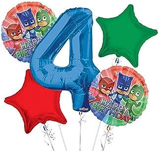 PJ Masks Balloon Bouquet 4th Birthday 5 pcs - Party Supplies