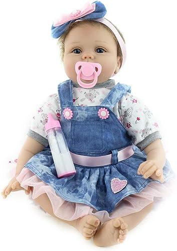 Ballylelly-55cm Nette Reborn Baby Denim Kleid Puppe Silikon Lebensechte Neugeborene Puppe mädchen Beste Geburtstag Kinder mädchen