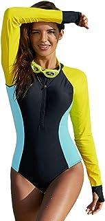 711f19aba2 LEANI Women Long Sleeve Rashguard One Piece Swimsuit Zip UV Protection  Striped Color Block Surfing Swimwear