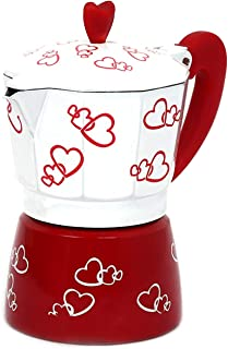 haoyuestory Cafetera de gota, cafetera estampada con corazón rojo, aleación de aluminio, cafetera moka pot espresso moca l...