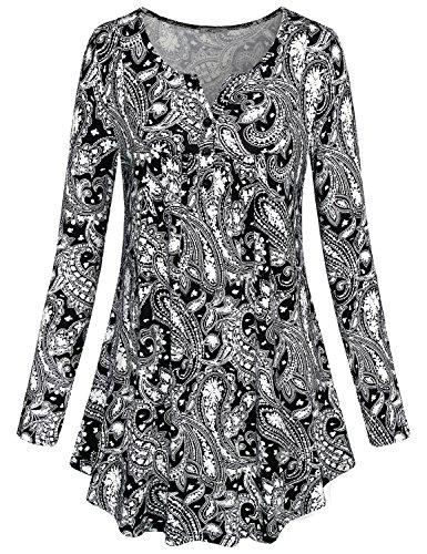 SeSe Code Flowy Blouse Women Burgundy Latest Fashion Top Novelty Shirts Girly Clothes Flattering Basic Ruffled Layer Roomy Floating Swing Tunic Wine Red XXL Christmas