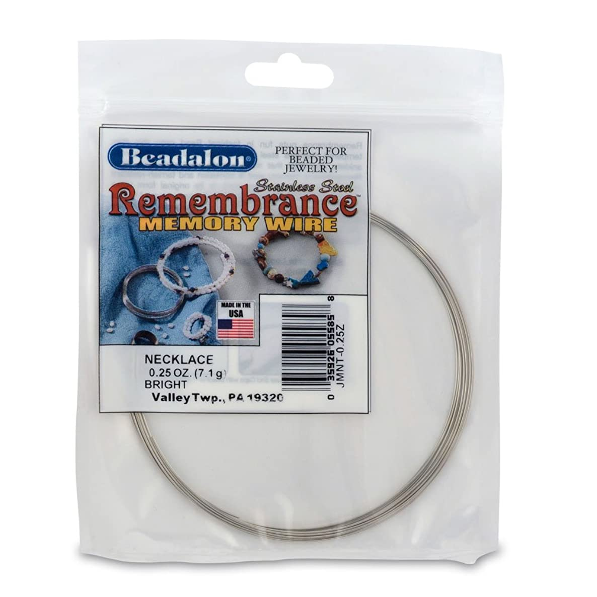 Beadalon JMNT-0 Remembrance Memory Wire Necklace .62mm 0-1/4-Ounce/Pkg, Bright/Approx, 9 Loops