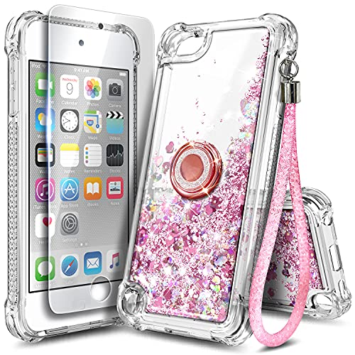 NGB iPod Touch 7 Case, iPod Touch 6/5 Case with HD Screen Protector and Ring Holder for Girls Women Kids, Glitter Liquid Soft TPU Clear Cute Case for Apple iPod Touch 7th/6th/5th Generation -Rose Gold