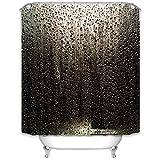 KaiXINSun Schwarz Regentropfen Duschvorhang Wasserdicht Mehltau Polyester Tuch Bad Vorhang Dekoration Bad Duschvorhang Mit Haken 180 * 180 cm