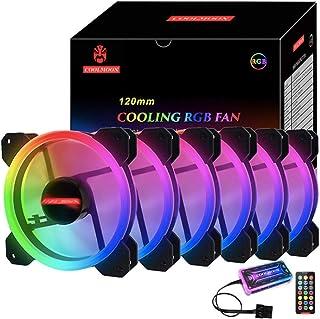 Ninguno RGB, carcasa de ordenador de 120 mm, ventilador RGB con controlador RGB, reforzado, diseño de aspas silenciosas, enfriador de enfriamiento colorido ajustable 6 unidades.