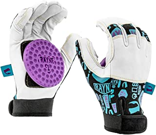 Rayne Idle Hands Leather Slide Gloves XL, Longboard Skating Slide Gloves with Perforated Leather Fingers and Adjustable Neoprene Wrist Cuff, Delrin Dish-Shaped Puck