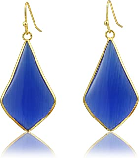 Top Plaza Womens Fashion Natural Gemstone Quartz Oval Rhombus Ear Hook Water Drop Ear Pendant Dangle Earring