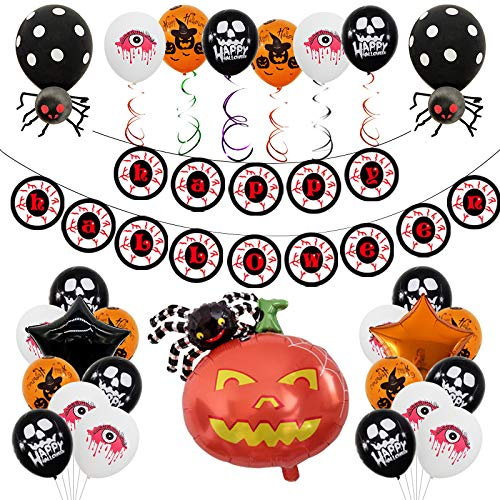 MEISHANG Halloween Dekoration Ballons,Halloween Luftballons Set,Halloween Deko Kinderparty,Halloween Luftballons Helium,Spinnen Ballons,Halloween Party Luftballons