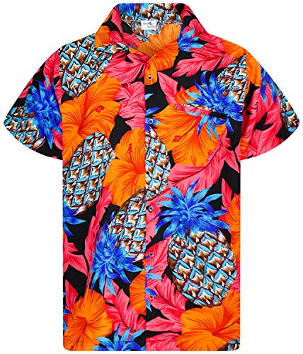 King Kameha Funky Chemise Hawaienne, Manche Courte, Pineapple Hibiscus, Noir Rouge, XS