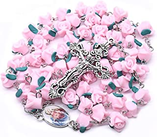 Rosary Flower Necklace, Rosaries Beads, Crucifix Religious Jewelry (Rose)