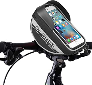 Bike Bag, Bicycle Front Frame Handlebar Phone Mount Bags Waterproof Phone Holder with Touch Screen Cycling Pouch Accessori...