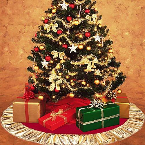 ShiyiUP Jupe de Sapin Noël Couvre Pied de Arbre Peluche Blanc Décorations d'arbre de Noël Vacances (Classique, Rouge 35\