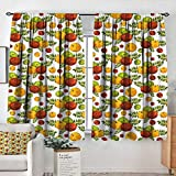 Rod Pocket Curtains Apple,Apple Harvest Theme with Stylized Fruit and Leaves Autumn Season,Burnt