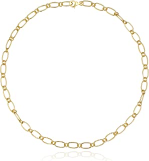 Chain Link Layering Necklace [18K Gold Plated Sterling Silver] Large Oval Links [Layer with Chokers and Lariat Y-Necklaces]