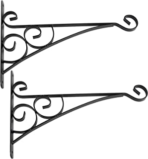 CERBIOR Hanging Bracket Hooks, Sturdy Metal Wall Hangers Garden Hooks for Planters, Bird Feeders, Lanterns Indoor Outdoor (16 Inches 2Pack)