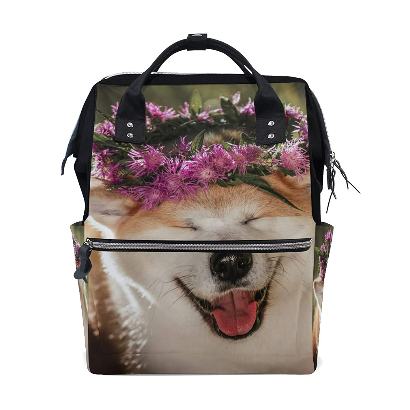 Cute Puppy Dog With Flower School Backpack Large Capacity Mummy Bags Laptop Handbag Casual Travel Rucksack Satchel For Women Men Adult Teen Children