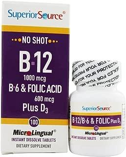 Superior Source No Shot Vitamin B12 Cyanocobalamin - B6 - Folic Acid - Vitamin D Instant Dissolve Tablets - Cyanocobalamin 1000 mcg Vit D 1000 IU - Active B12 Supplement Sublingual 100 Count