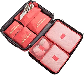 Aschic 7 Set Travel Storage Bags Packing Cubes Multi-Functional Clothing Sorting Packages, Travel Packing Pouches(Watermelon Red)