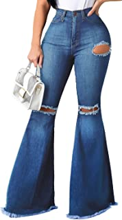 Women's Plus Size Bell Bottom Jeans Classic High Waisted Flared Jean Pants 5XL
