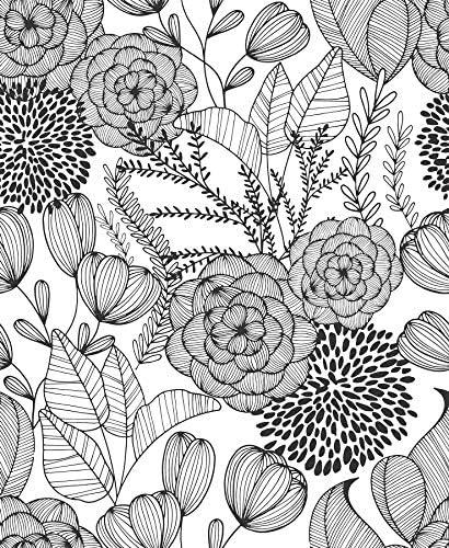 NuWallpaper NUS3501 Black Secret Garden Wallpaper product image