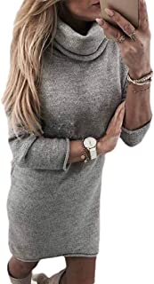 Women Cowl Neck Knit Solid Color Long Sleeve Loose Fit Sweater Dress