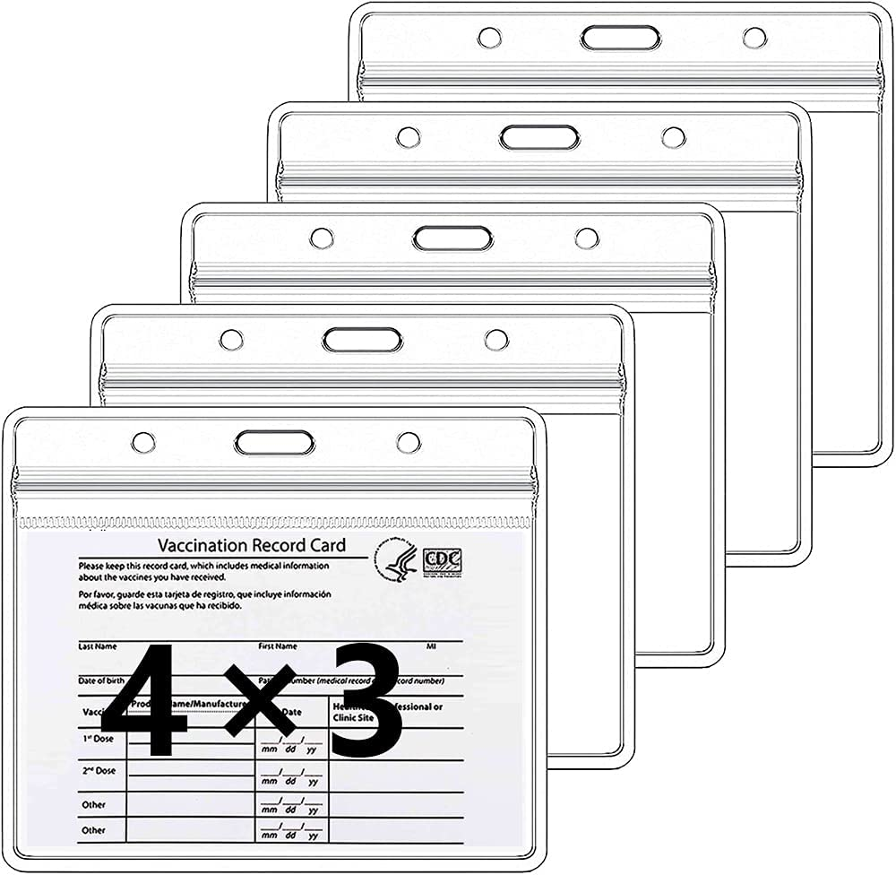 5 Pack CDC Vaccine Card Holder Protector for 4