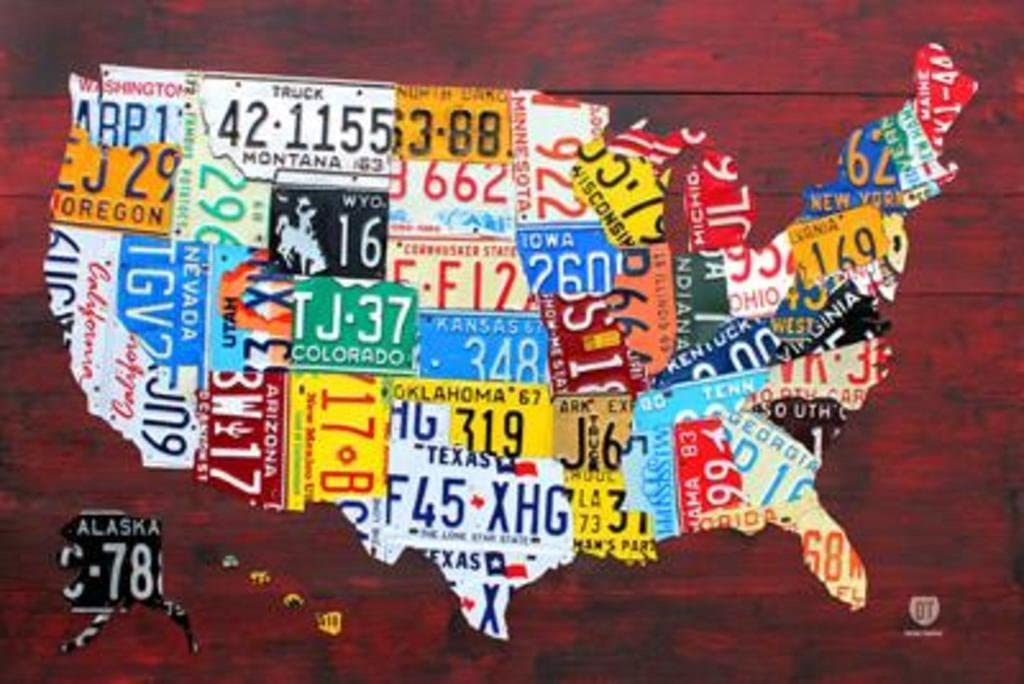 united states license plates map Amazon.com: Laminated License Plate Map of the United States