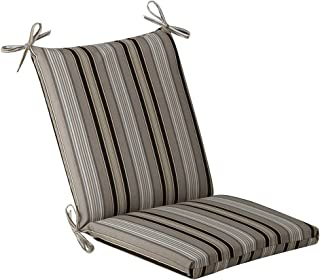 Pillow Perfect Indoor/Outdoor Black/Beige Striped Chair Cushion, Squared