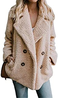 Fastyletop Women Autumn Winter Fuzzy Fleece Open Front Cardigan Jacket Coat Outwear with Pockets