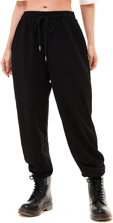 Xuvozta Women Cotton Loose Sweatpants High Waist Joggers Active Pants Lounge Trousers with Zipper Pockets